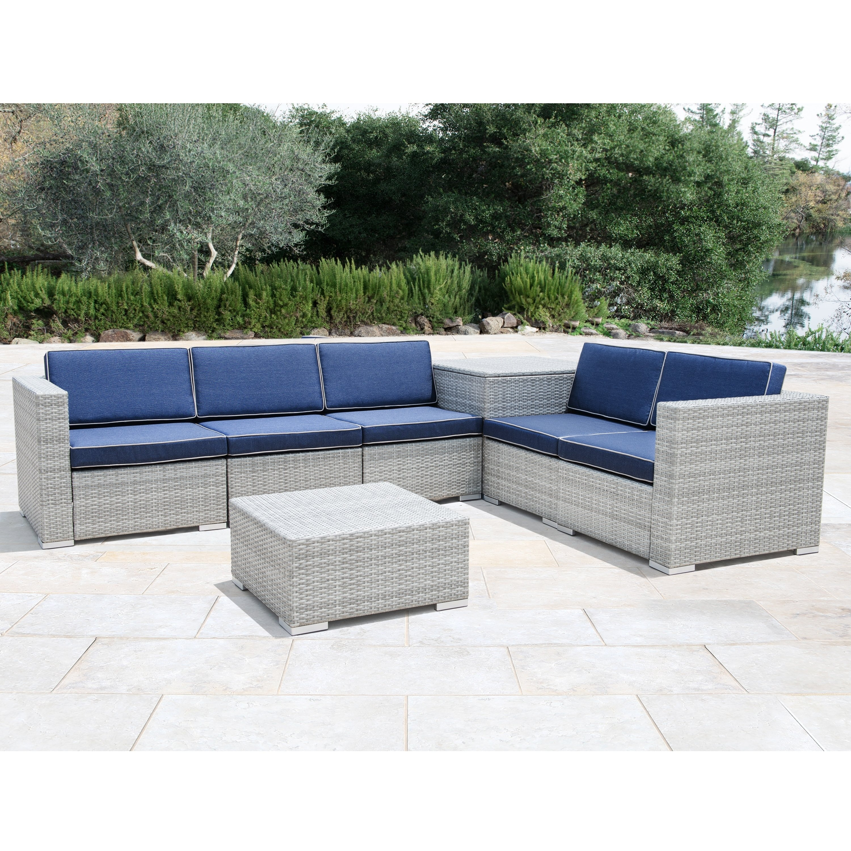 7 Piece Grey Wicker Patio Furniture