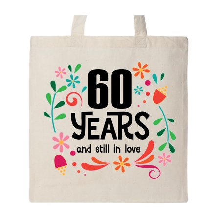 Wedding Totes (60th Wedding Anniversary Flowered Gift Tote Bag Natural One)