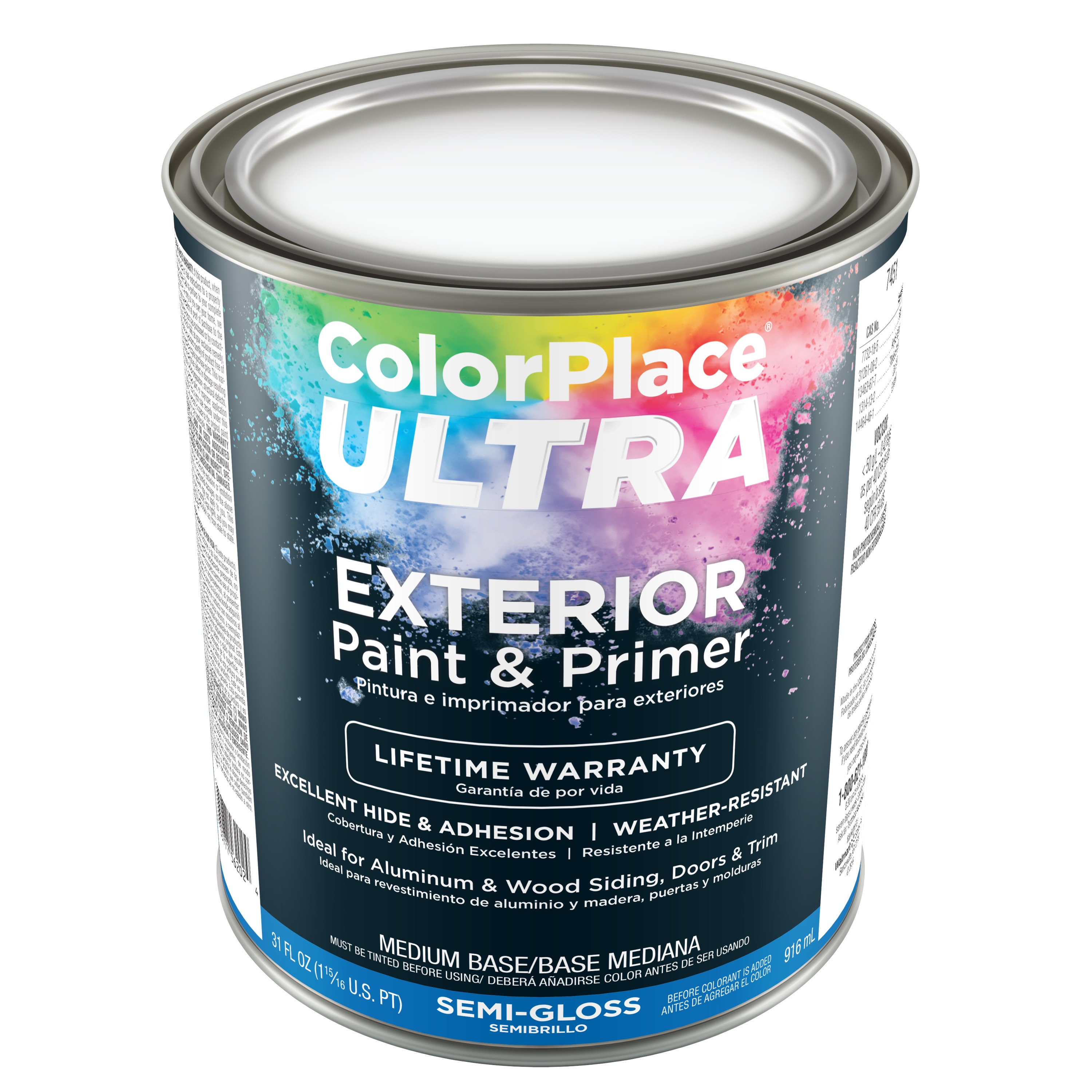 Color Place Ultra Semi-Gloss Exterior Paint & Primer Medium Base 1-Qt