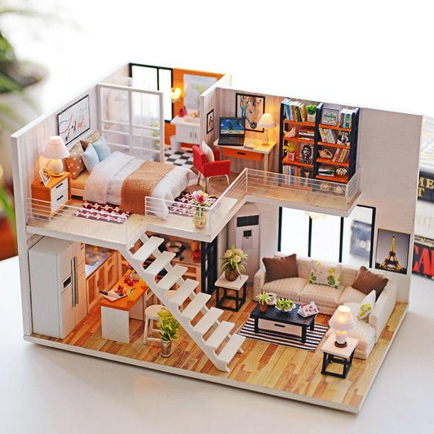 DIY LED Wooden Doll House  Miniature Kit w// Furniture Kids Dollhouse Toys Gift