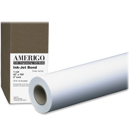 - PM, PMC44142, 20lb Wide Format Inkjet Bond Paper Roll, 1 / Roll, White