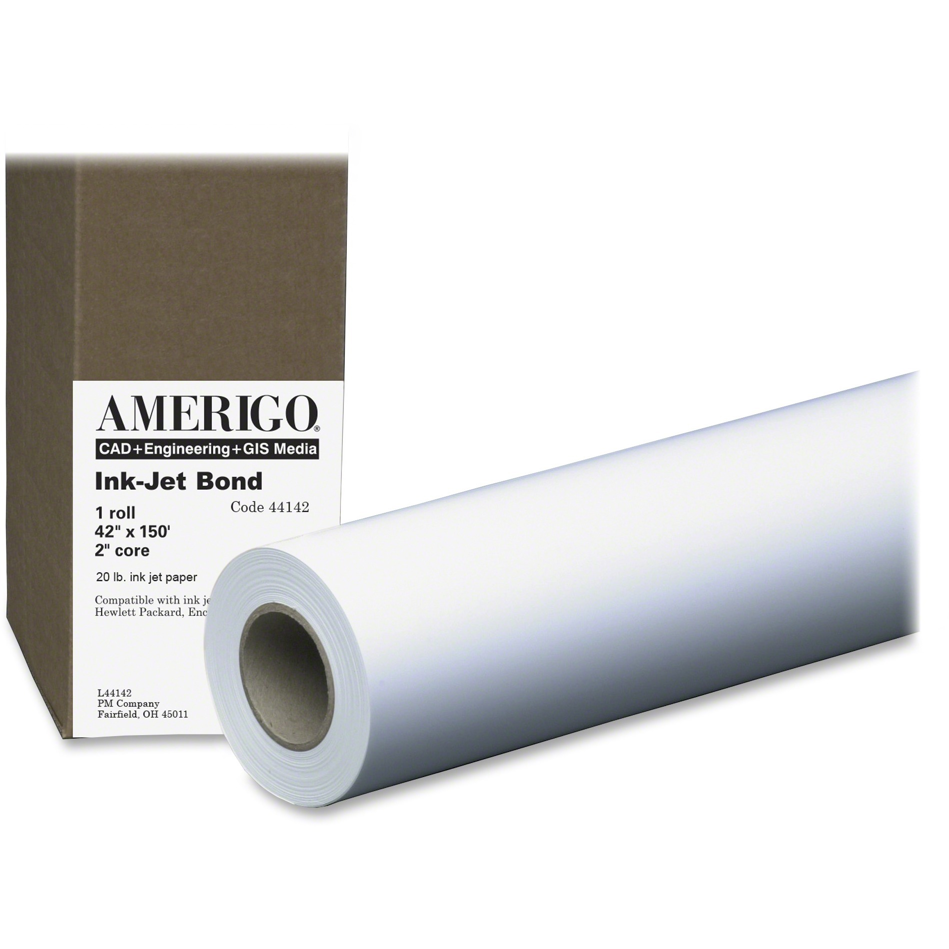 PM, PMC44142, 20lb Wide Format Inkjet Bond Paper Roll, 1 / Roll, White