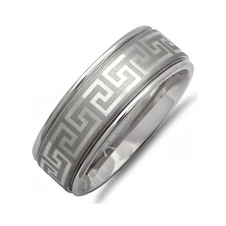 Mens Comfort Fit 8mm Greek Key Anium Wedding Band Choose Your Ring Size 8
