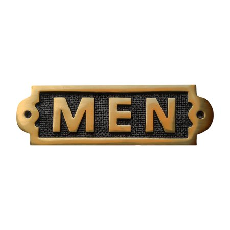 Men Sign Polished Brass - Engraved Brass Art