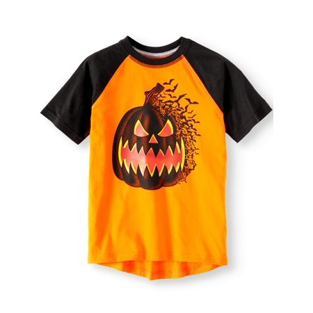 Boys Halloween Short Sleeve Raglan Glow in The Dark Graphic Tee Shirt for $<!---->