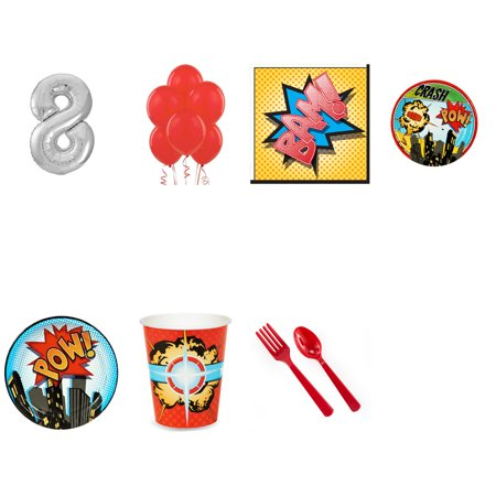 Superhero Comics Party Supplies Party Pack For 16 With Silver #8 Balloon](Superheroes Party Supplies)