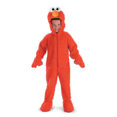 Sesame Street Toddler Boys Plush Red Elmo Costume Faux Fur Hooded Jumpsuit 2T
