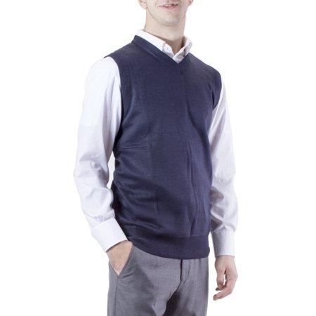 Men's Solid Navy V-Neck Sweater Vest, Size Medium By J.Korn ...