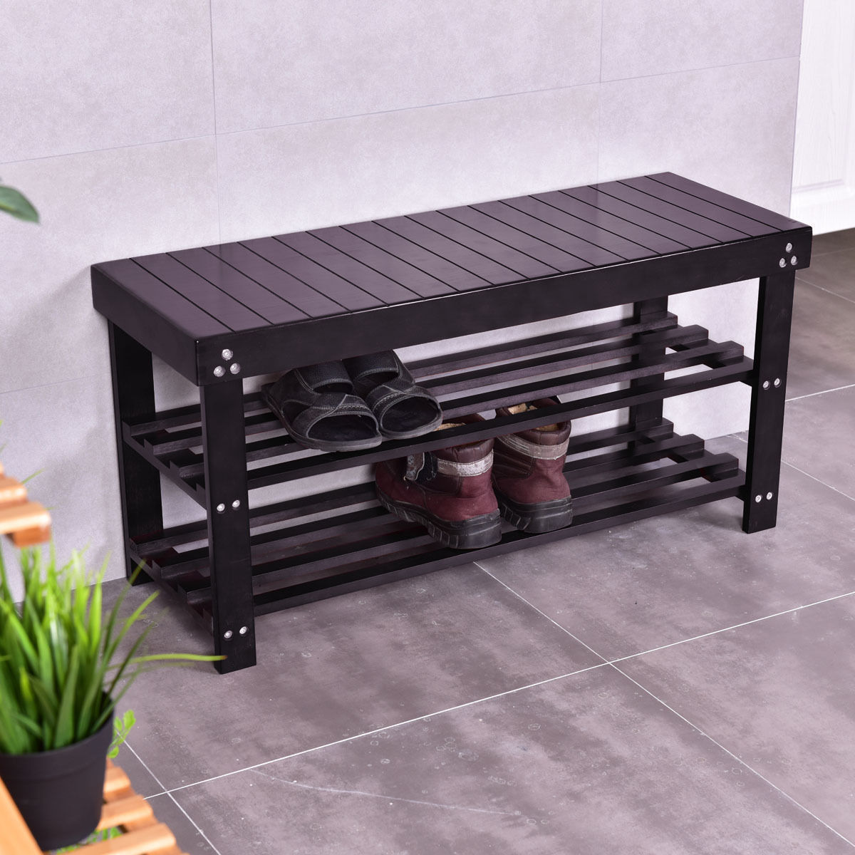 Costway Solid Wooden Shoe Bench Storage Racks Seat Organizer Entryway  Hallway Black