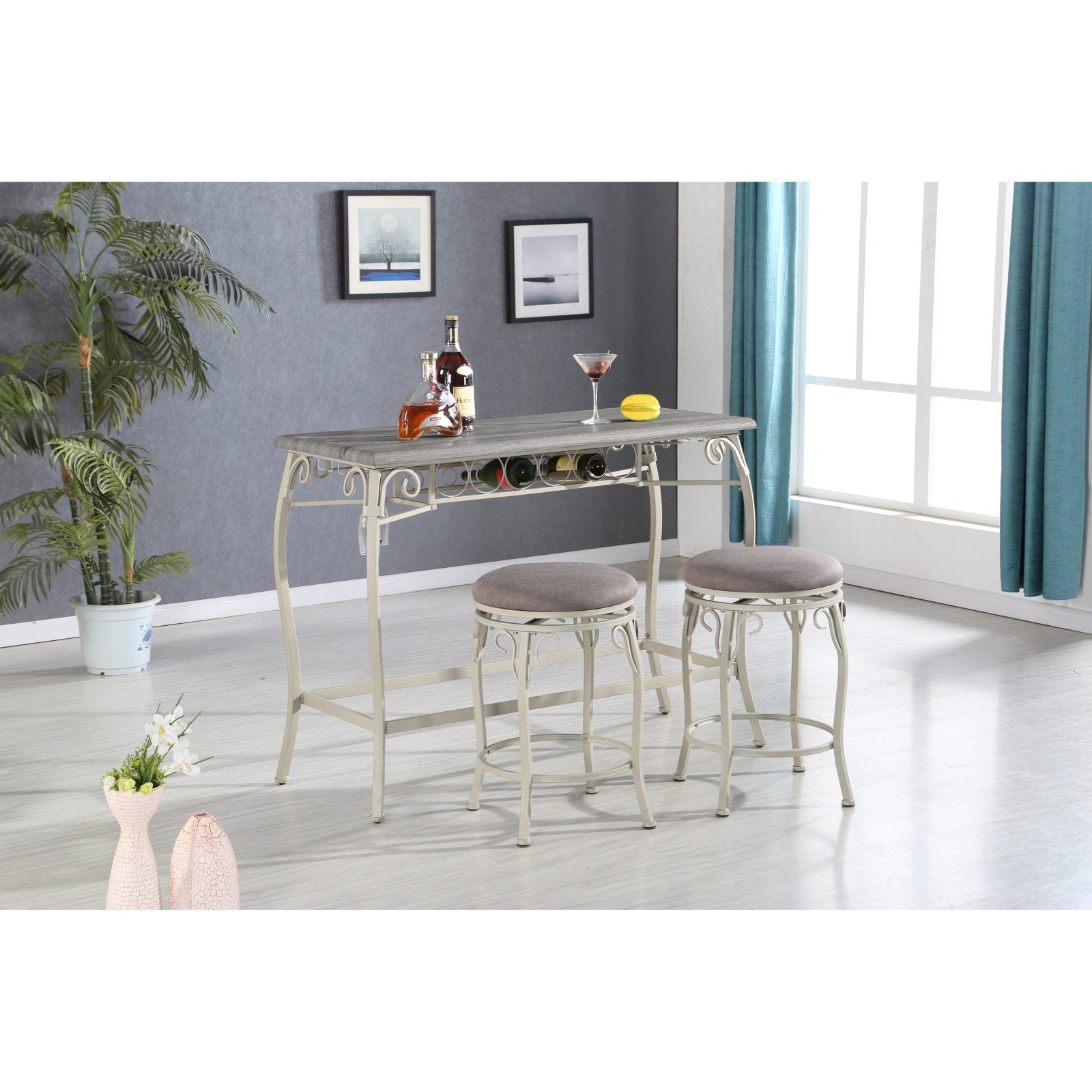 Acme Irmeda 3-Piece Counter Height Wine Table Set
