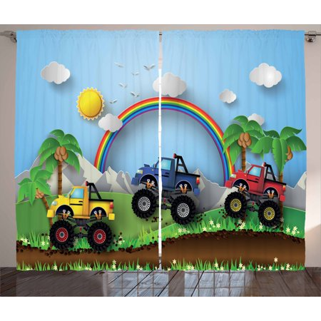 Sensational Monster Truck Curtains 2 Panels Set Graphic Colorful Monster Trucks Racing On Skid Trail In Exotic Environment Window Drapes For Living Room Home Interior And Landscaping Ologienasavecom