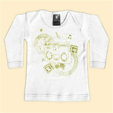 Toddler Boombox (Rebel Ink Baby 111wls06 Boom Box- 0-6 Month White Long Sleeve Tee )