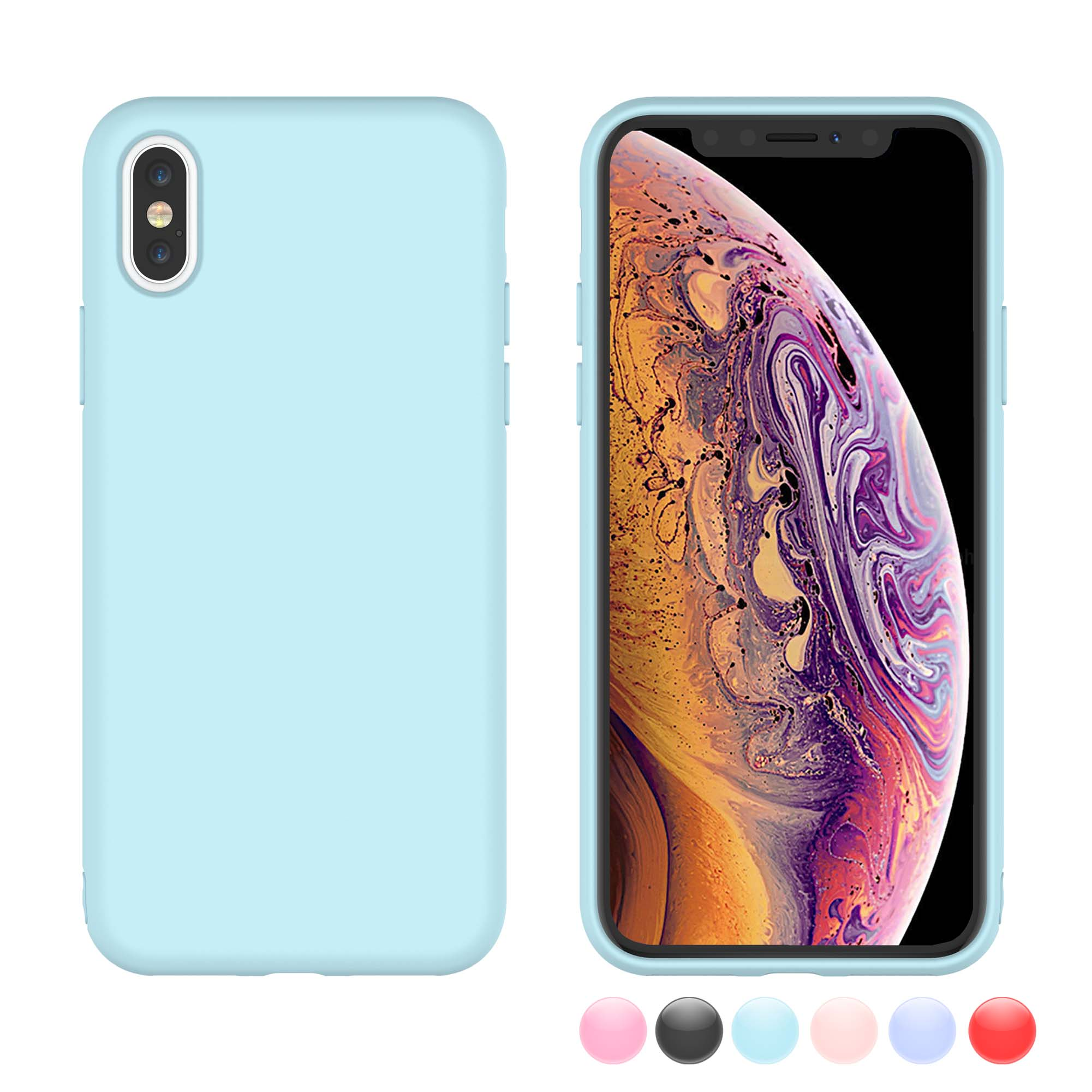 Njjex Case Cover For iPhone XS Max / iPhone XS / iPhone X / iPhone 10 / iPhone X Edition, Njjex Matte Charming Colorful Slim Soft TPU Bumper Case Cover -Red