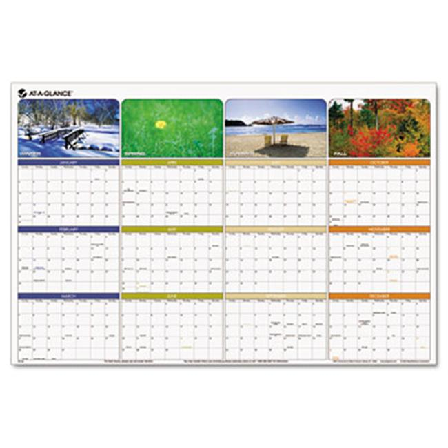 At-A-Glance PA133 Seasons in Bloom Erasable/Reversible Quarterly Yearly Wall Calendar, 24 x 36