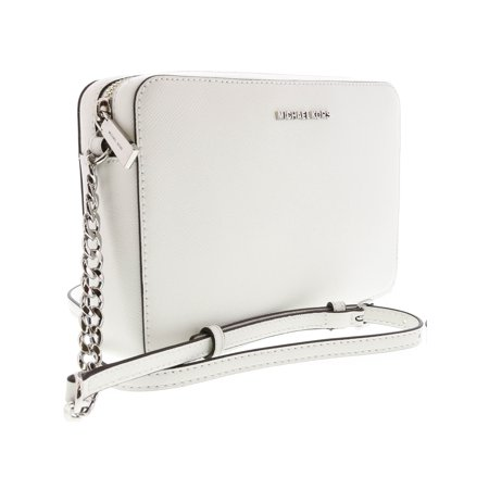 a503eab185d6 Michael Kors Large Jet Set Saffiano Leather Crossbody Satchel - Optic White  - Walmart.com