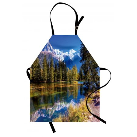 - Mountain Apron Snow Covered Alps Peaks Covered with Fir Trees in Lake Natural Paradise, Unisex Kitchen Bib Apron with Adjustable Neck for Cooking Baking Gardening, Green White Blue, by Ambesonne