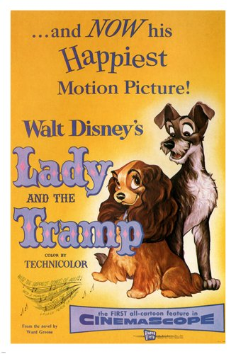 Walt Disney'S Lady And The Tramp Movie Poster 1955 24X36 Vintage ...