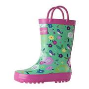 Oakiwear Kids Rain Boots For Boys Girls Toddlers Children, Green Floral