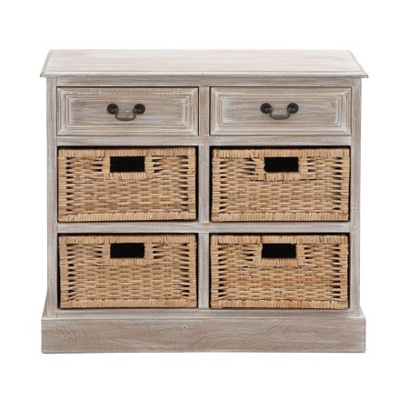 Decmode Farmhouse 28 X 30 Inch Wooden Chest With 4 Wicker