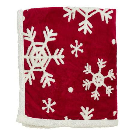 Christmas Throw Blanket.Fennco Styles Holiday Christmas Snowflake Throw Blanket With Sherpa 50 X60 Snowflake