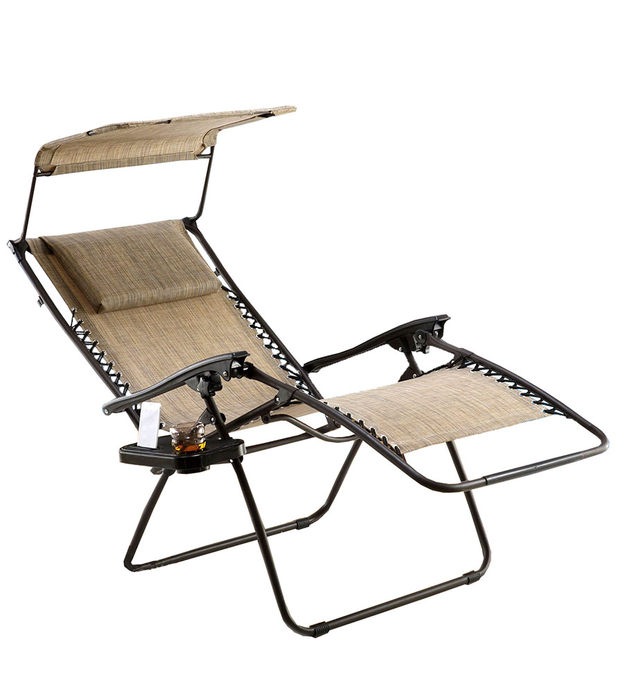 Just Relax Zero Gravity Chair With Pillow, Canopy, And Clip-On Table, Tan