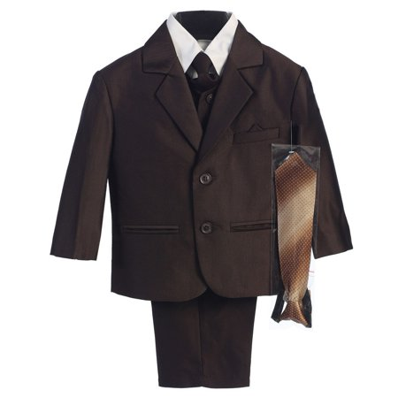 Little Boys Brown Two-button Herringbone Pattern Special Occasion Suit 2-7