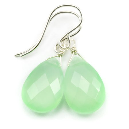 (Chalcedony Earrings Soft Green Faceted Cut Pear Shape Teardrop Sterling Silver Spyglass Designs)
