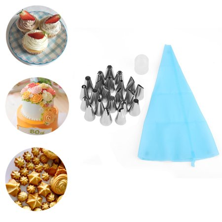 Yosoo 24pcs Cake Cupcake Decorating Supplies Kit, Icing Piping Nozzles Flowers Shaped, Frosting Bags and Tips Baking