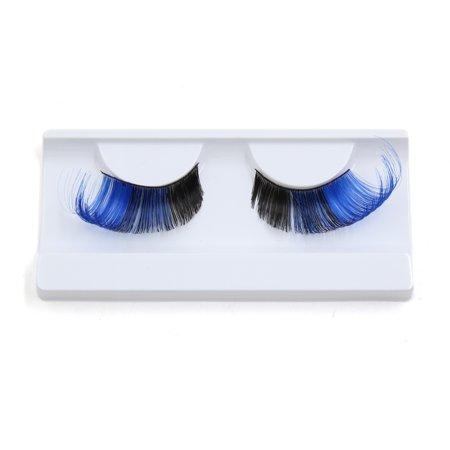 1 Pair Blue Black False Eyelashes Extension Eye Decor for Women Party Makeup (Blue Eyelashes)