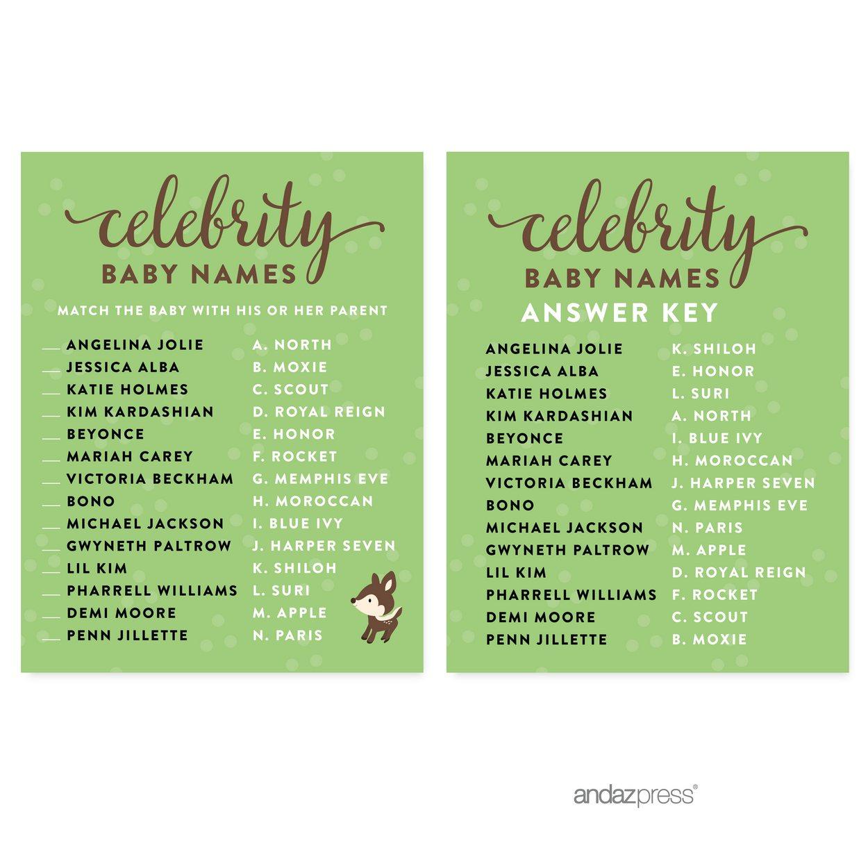 Celebrity Name Game Woodland Animals Deer Baby Shower Games 20