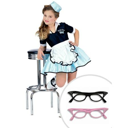Girl's 1950s Car Hop Costume and Black Rhinestone 50s Cat Eye Glasses - 1950 S Costume