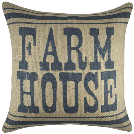 - TheWatsonShop Farm House Burlap Throw Pillow