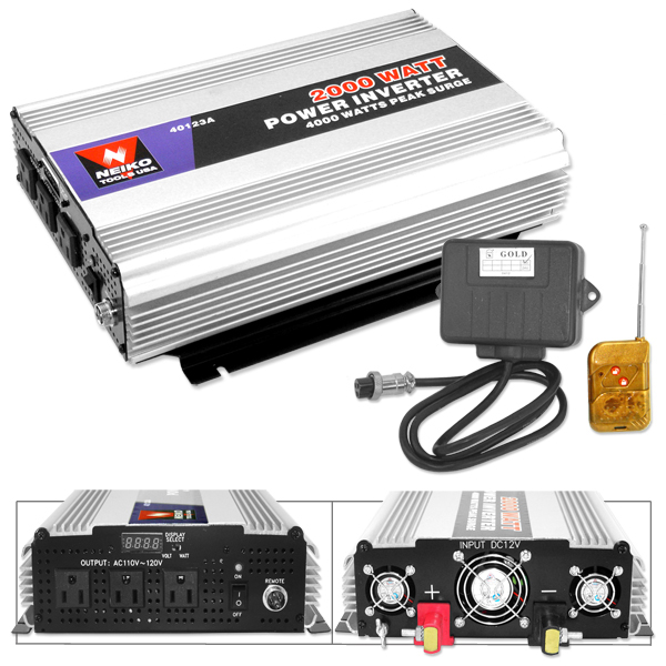 2000 - 4000 Watt Peak Surge Power Inverter Plus Cordless Remote Control Car