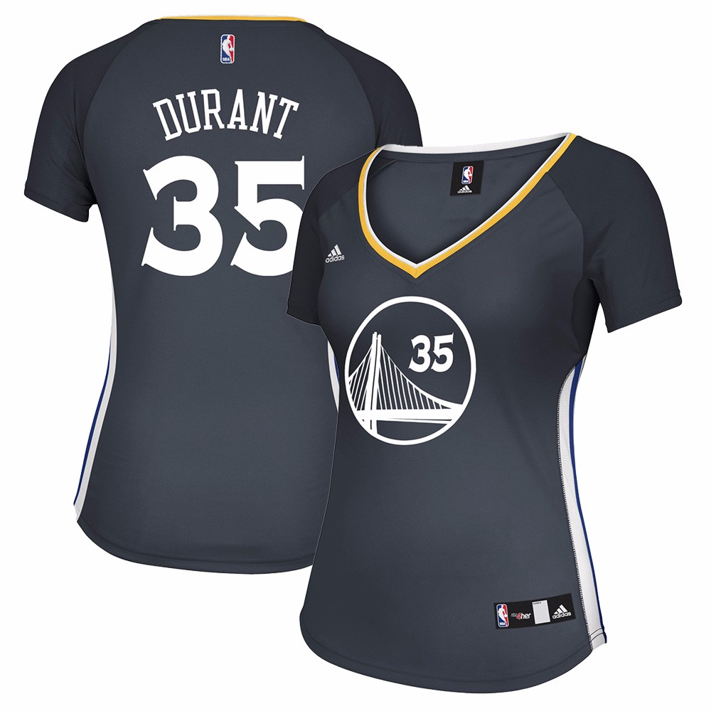 Kevin Durant  Golden State Warriors NBA Adidas Women's Grey Official Alternate Replica Jersey