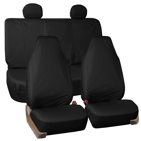 FH Group Universal Fit Waterproof Rugged Oxford Seat Covers, Full Set, Black