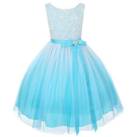 Kids Dream Girls Turquoise Ombre Rosette Special Occasion Dress 10