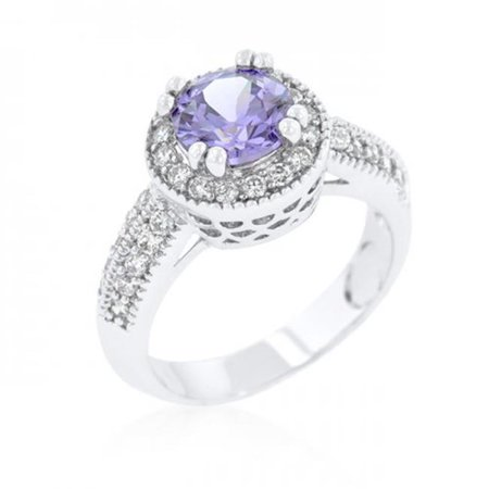 Icon Bijoux R08226R-C22-09 Lavender Halo Engagement Ring (Size: 09) - image 1 of 1