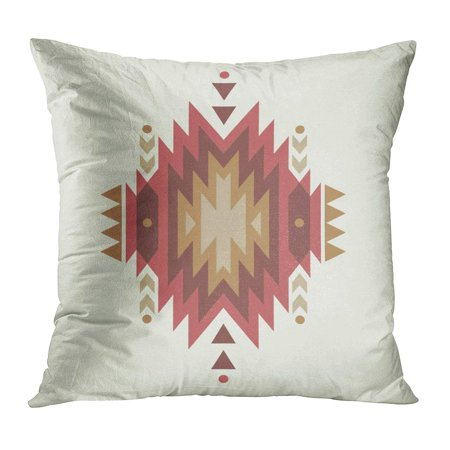 ECCOT Red Native Colorful Ethnic Pattern American Navajo Arrow Mexico Triangle PillowCase Pillow Cover 20x20 inch ()