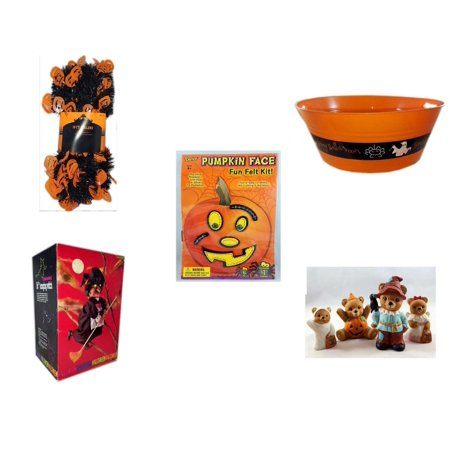 Halloween Fun Gift Bundle [5 Piece] -  Black & Orange Pumpkin Garland 10 ft. - 17.75 Inch Orange