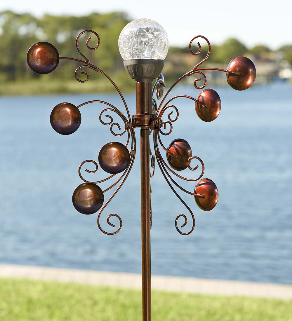 Bronze-Colored Solar Wind Spinner for Gardens