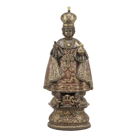 Ebros Roman Catholic Orthodox Christian Infant of Prague Statue Inspirational Decorative Sculpture of Jesus Christ Childhood Gallery Quality Figurine in Faux Bronze Resin Patina