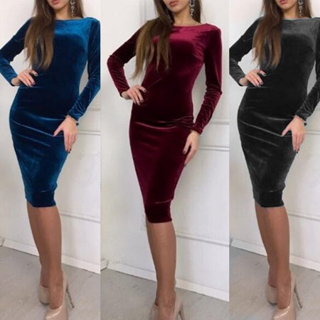 - Sexy Women's Velvet Bodycon Cocktail Club Party Sheath Pencil Package Hip Low Cut V-back Midi Dress Long Sleeve