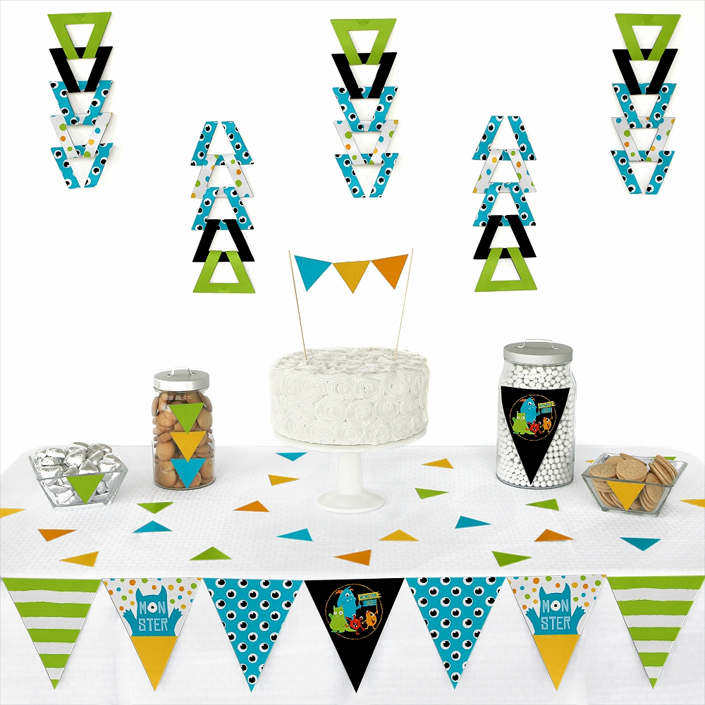 Monster Bash - Triangle Little Monster Birthday Party or Baby Shower Decoration Kit - 72 Piece