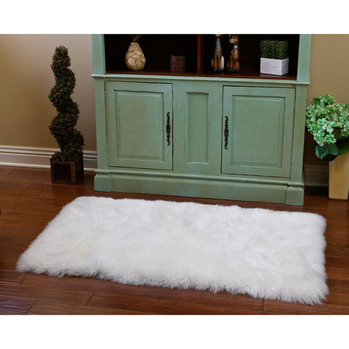 Shear Style Natural Rectangle Sheepskin Area Rug, Natural