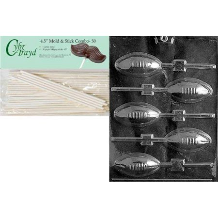 Cybrtrayd 45St50-S026 Football Lolly Sports Chocolate Candy Mold with 50-Pack 4.5-Inch Lollipop Sticks