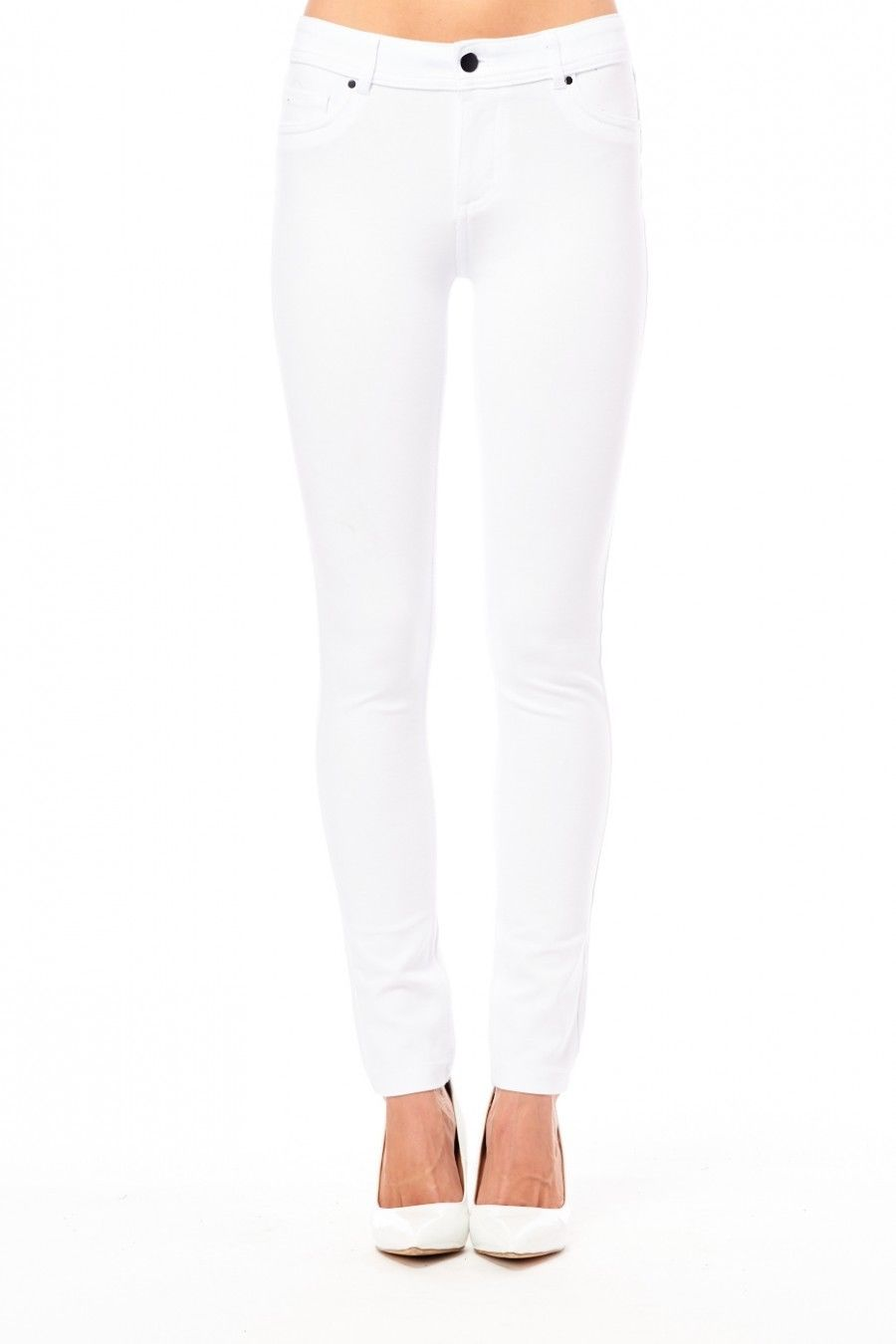 Womens Solid Reform Basic Classic Soft Shaping Jegging Pants 611S (S, White)