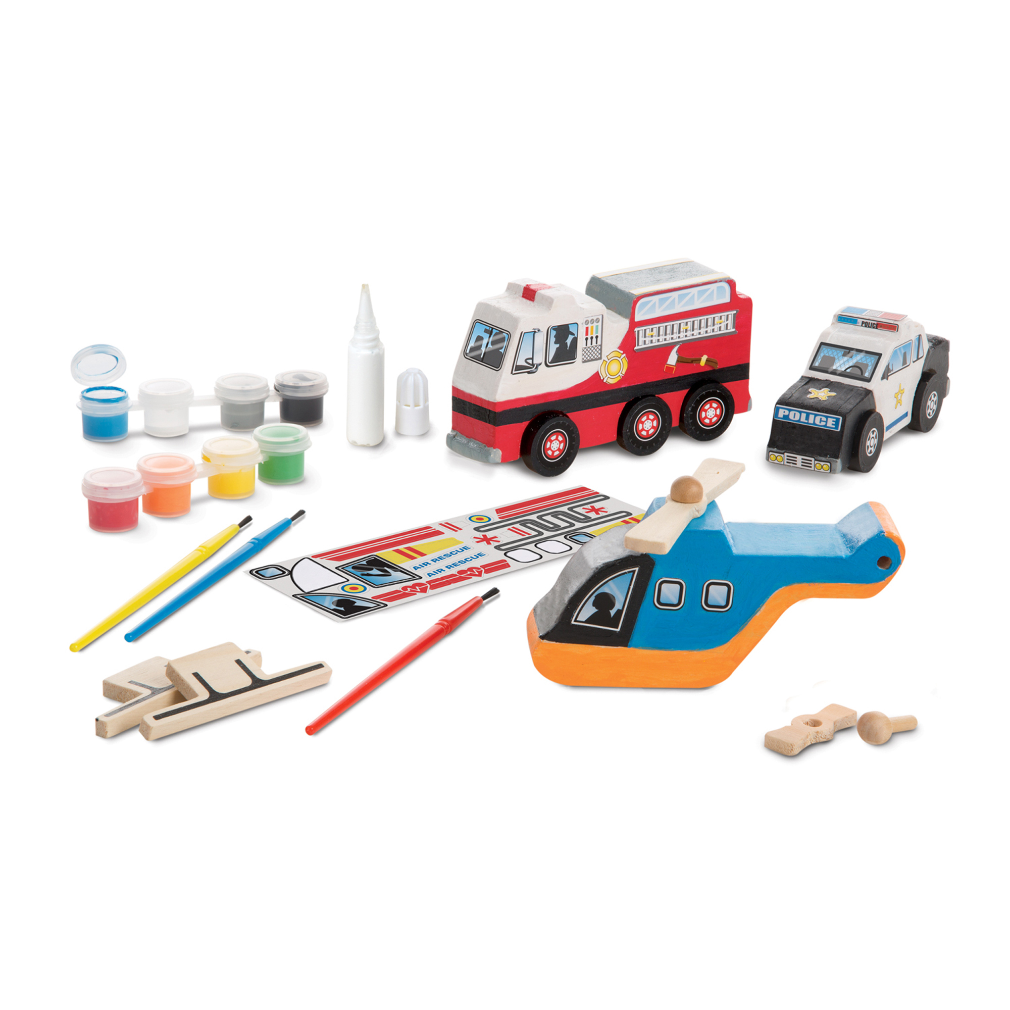 Melissa & Doug Created by Me! Rescue Vehicles Wooden Craft Kit - Decorate-Your-Own Police Car, Fire Truck, Helicopter