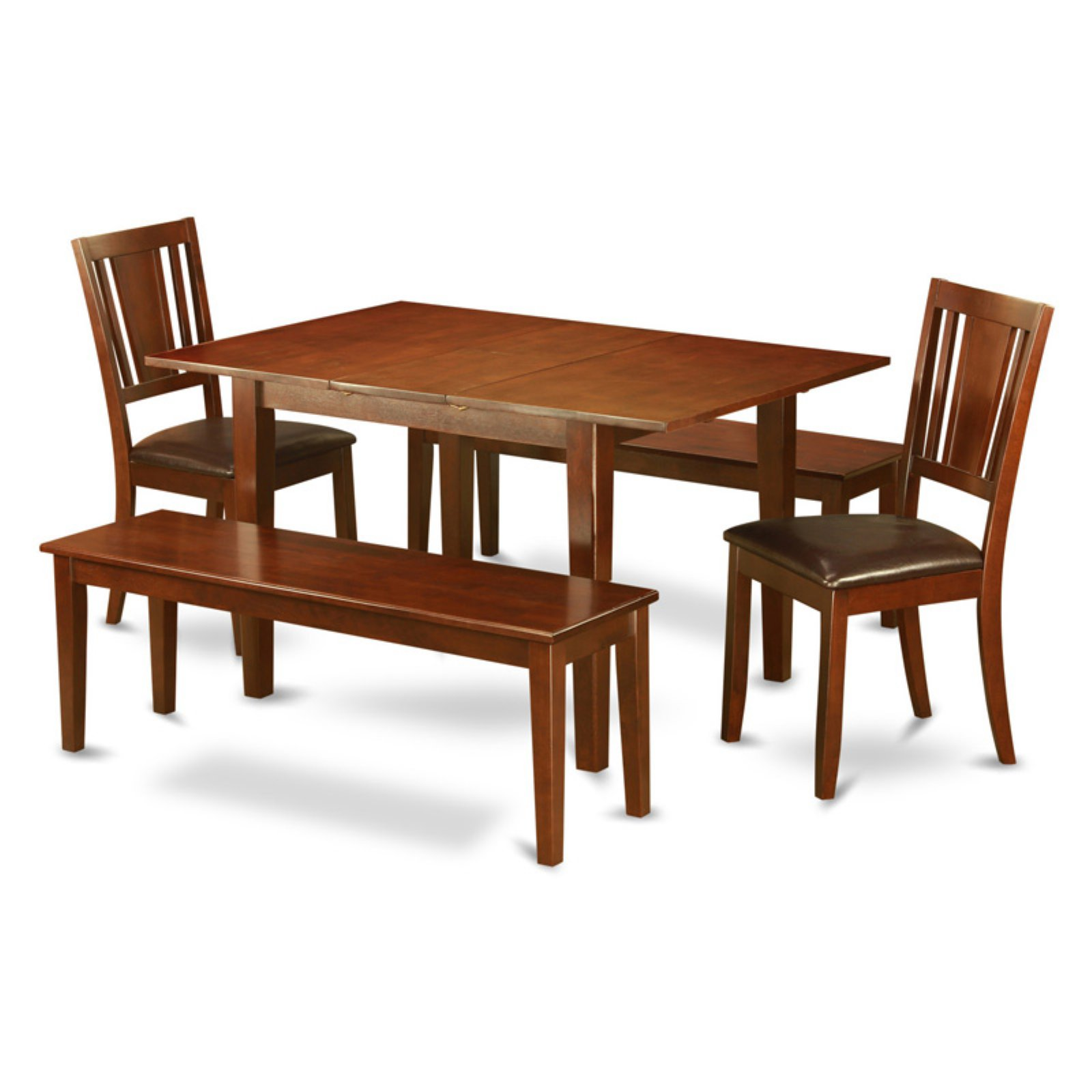 East West Furniture Picasso 5 Piece Scotch Art Dining Table Set with 2 Benches