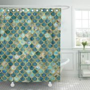 SUTTOM Green Mermaid Teal Blue Scales Pattern Faux Gold Tail Shower Curtain 60x72 inch