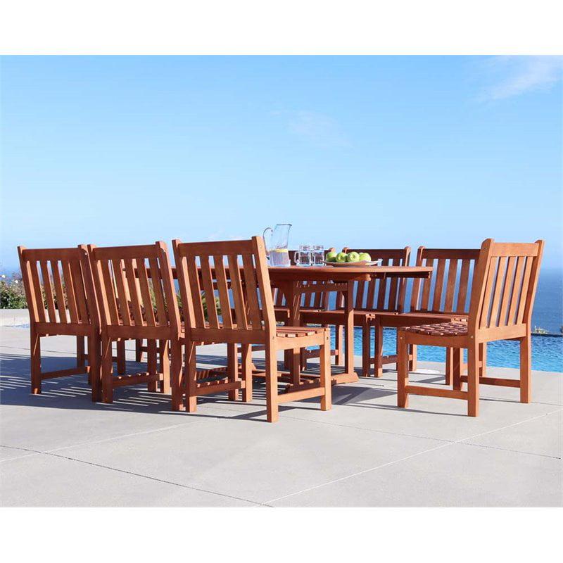 Vifah Malibu 9 Piece Extendable Hardwood Patio Dining Set